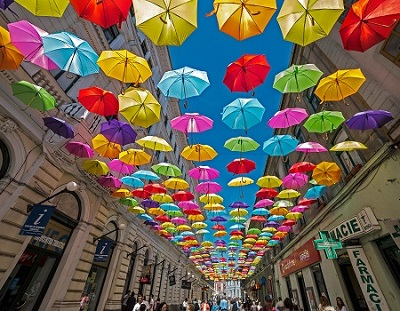 Street with colored umbrellas in Timisoara